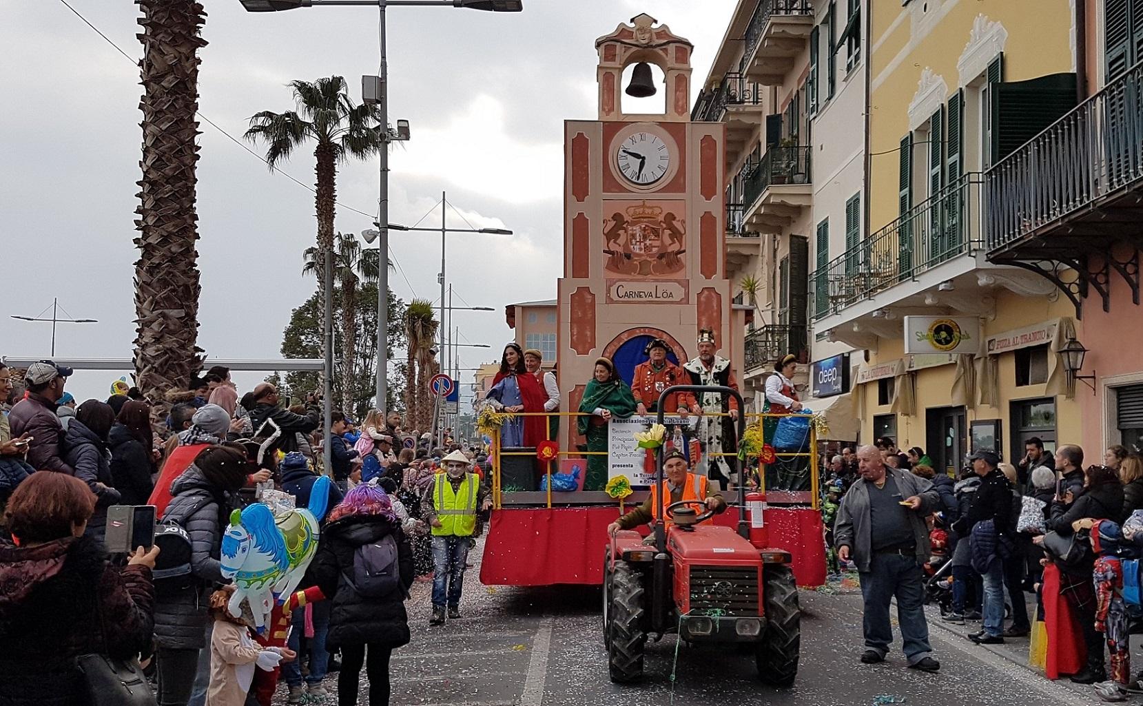 Loano, domenica 24 febbraio la seconda sfilata dei carri e il Palio dei Comuni
